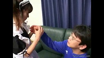 A young Asian girl in a maid&Acirc_&rsquo_s uniform enters a room from http://alljapanese.net