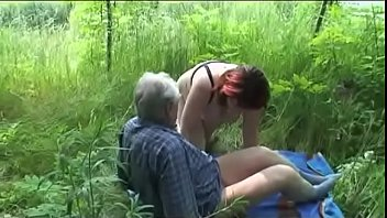 older mature duo ravages outdoor