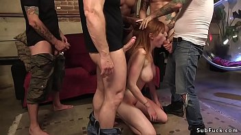 Busty redhead gets double penetration