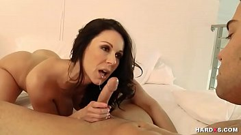 ebony-haired preps for orgy with workout