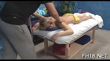 Hot and sexy 18 year old babe gets screwed hard doggystyle from her massage therapist