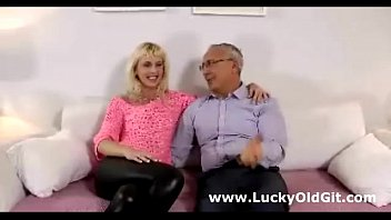 Cute european babe teases older british guy