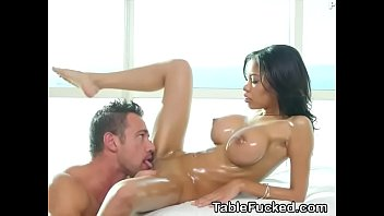 Big Fake Titty Brunette Shay Evans Eaten Out On Massage Table