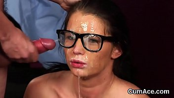 Hot doll gets jizz shot on her face swallowing all the cream