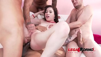 monika horny primeval 4on1 dual anal intrusion with.