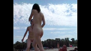 two lean naturist teenagers jiggish around.