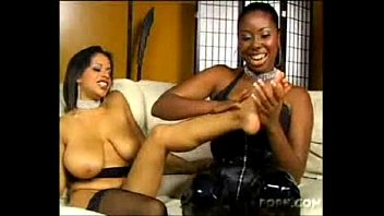 scorching bigtitty dark-hued lesbos idolizing feet and yummy cootchies