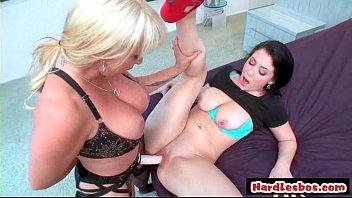 Blonde lesbian fucking brunette with strapon dildo HD hardcore 23