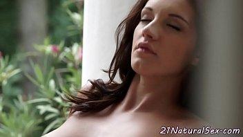 Busty euro model fingers her wet pussy