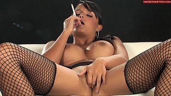 sasha flog - smoking as she plays with.
