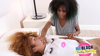 Ebony teen licks first her sisters pussy and after fucks her boyfriend