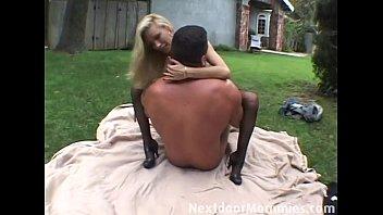 Blonde cougar fucks a big cock