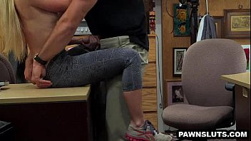 towheaded stunner showcases her hooters and blows a.