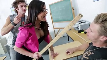 two students pound school lecturer