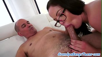 spex nubile dickriding and deep-throating granddad