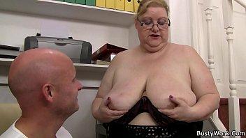 huge baps chick in glasses rails.