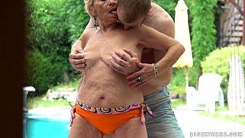 grandma pummels next to a pool