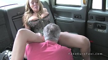 ample orbs blondie in corset smashes in faux cab