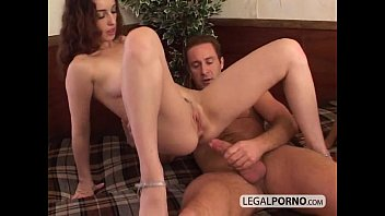 two mischievous brunettes having a threeway with a.