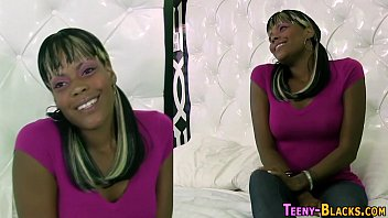 Tattooed ebony teen jerks