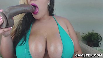 BBW Latina MILF Gets Dildo DP on Cam