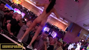 Slim brunette pornstar nude and masturbates in stand