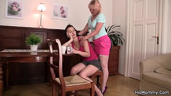 His gf and mom in stockings toying together