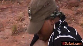 african stunner takes two spunk-shotguns outdoors.