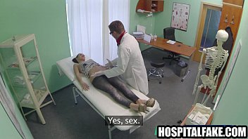 Sexy brunette patient gets fingered and sucks cock0 2