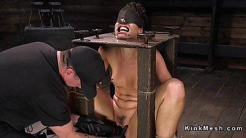 dark haired marionette gets hosepipe over.