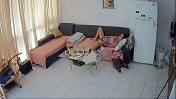 security cam - mature brunette masturbate
