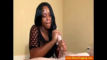 black tugjob teenie pulling on his stiff beef whistle