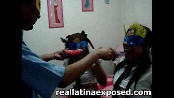 Cute teen latina gets her face sprayed with cum