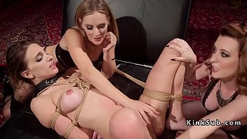handcuffed and collared honey gets flagellated