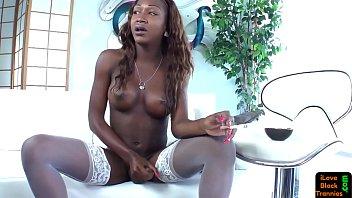 Black smoking tgirl tugging her cock