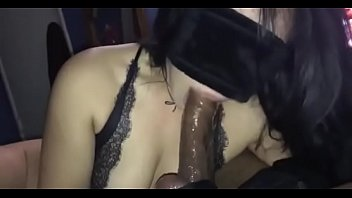 Blindfolded black dick sucking