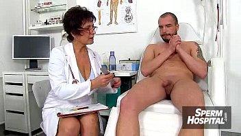 cool uniform girl masturbates off a boy patient.